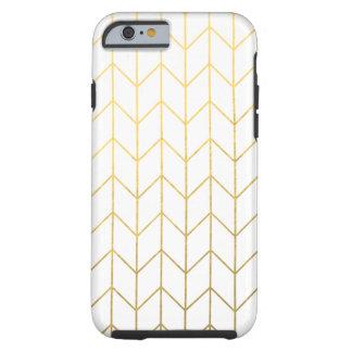 Moda moderna del fondo blanco de Chevron del oro Funda De iPhone 6 Tough