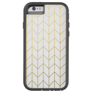 Moda moderna del fondo blanco de Chevron del oro Funda De iPhone 6 Tough Xtreme