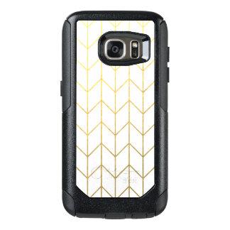 Moda moderna del fondo blanco de Chevron del oro Funda Otterbox Para Samsung Galaxy S7