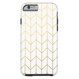 Moda moderna del fondo blanco de Chevron del oro Funda Para iPhone 6 Tough