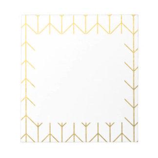 Moda moderna del fondo blanco de Chevron del oro Libretas Para Notas