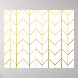 Moda moderna del fondo blanco de Chevron del oro Posters