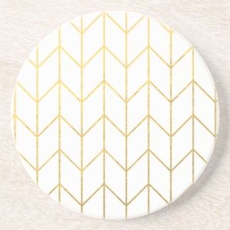 Moda moderna del fondo blanco de Chevron del oro Posavasos Para Bebidas