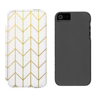 Moda moderna del fondo blanco de Chevron del oro Funda Cartera Para iPhone 5 Watson