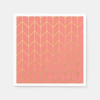 Moda moderna del fondo rosado coralino de Chevron Servilleta Desechable
