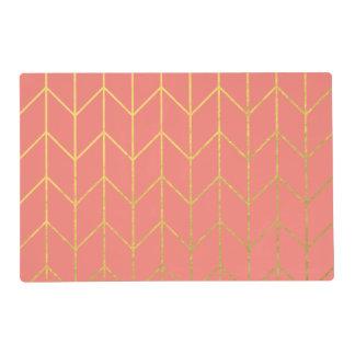Moda moderna del fondo rosado coralino de Chevron Tapete Individual