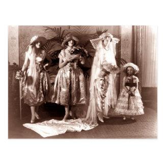 Moda nupcial del vintage postal