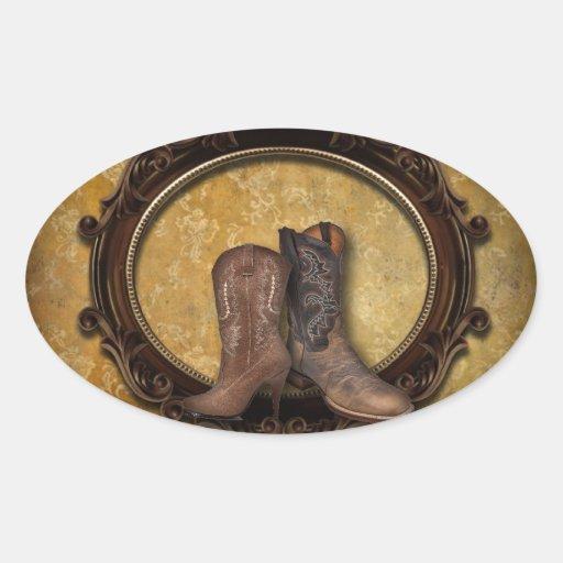 moda occidental de las botas de vaquero del pegatina ovalada