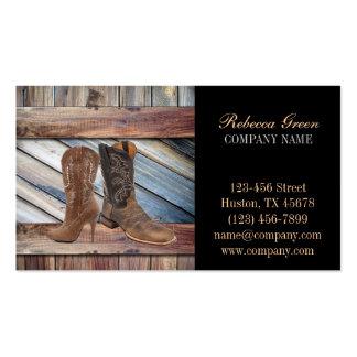 moda occidental de madera de las botas de vaquero  tarjetas de visita