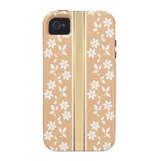 moda, papel de empapelar, champán, oro, floral, Case-Mate iPhone 4 fundas