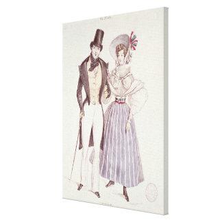 Moda para los hombres y las mujeres, 1830 impresion de lienzo