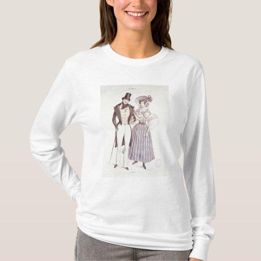 Moda para los hombres y las mujeres, 1830 playera