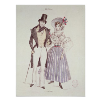 Moda para los hombres y las mujeres, 1830 póster