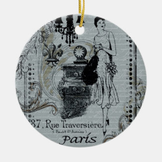 Moda parisiense adorno navideño redondo de cerámica