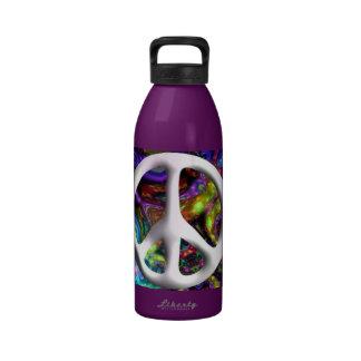 Moda psicodélica del hippy del signo de la paz 60s botella de agua