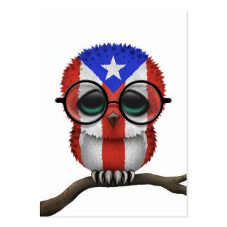 Moda puertorriqueña Nerdy adaptable del búho del Tarjetas De Visita Grandes