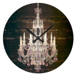 moda púrpura de París de la lámpara del barnwood d Reloj Redondo Grande