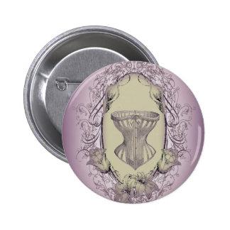 Moda púrpura del corsé del Victorian del vintage Pin Redondo De 2 Pulgadas