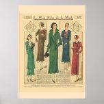 Moda retra 1931 del francés del vintage impresiones
