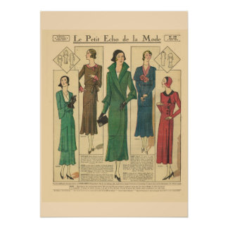 Moda retra 1931 del francés del vintage póster