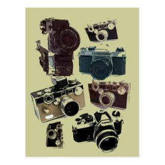 Moda retra de las cámaras del Grunge del vintage Tarjeta Postal