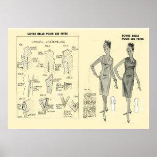 Moda retra del francés del vintage, modelo del ves póster