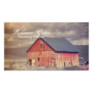 moda roja occidental rústica del país del barnhous tarjetas de visita