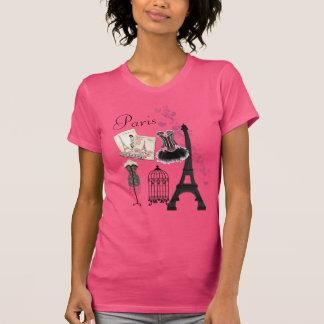 Moda romántica del vintage rosado femenino elegant tee shirt