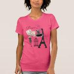 Moda romántica del vintage rosado femenino playera