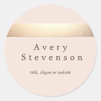 Moda rosa clara moderna rayada coloreada oro pegatina redonda