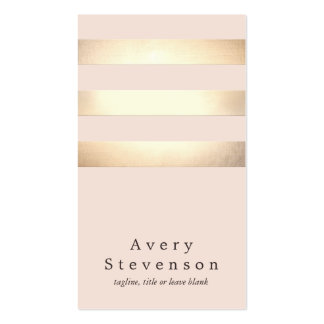 Moda rosa clara moderna rayada del falso oro tarjetas de visita