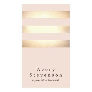 Moda rosa clara moderna rayada del oro elegante tarjeta de visita