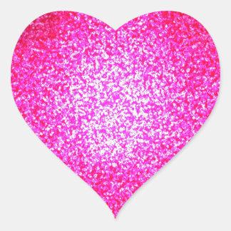 Moda rosada brillante del brillo pegatina en forma de corazón