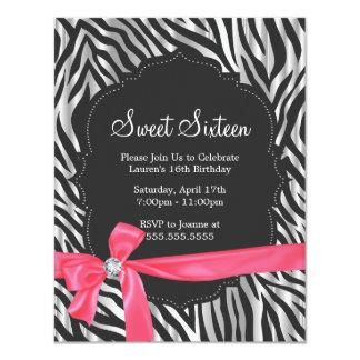 Moda rosada dieciséis de la cinta y del diamante invitación 10,8 x 13,9 cm