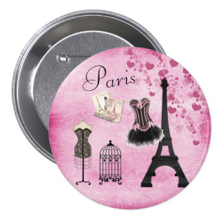 Moda rosada elegante de la torre Eiffel de París Pin Redondo De 3 Pulgadas