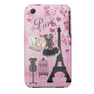 Moda rosada femenina elegante de París Case-Mate iPhone 3 Cobertura