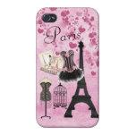 Moda rosada femenina elegante de París iPhone 4/4S Carcasa