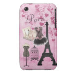 Moda rosada femenina elegante de París Funda Para iPhone 3