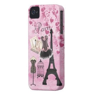 Moda rosada femenina elegante de París Funda Para iPhone 4 De Case-Mate