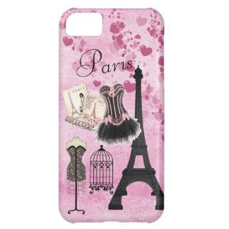 Moda rosada femenina elegante de París Funda Para iPhone 5C