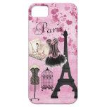 Moda rosada femenina elegante de París Funda Para iPhone SE/5/5s