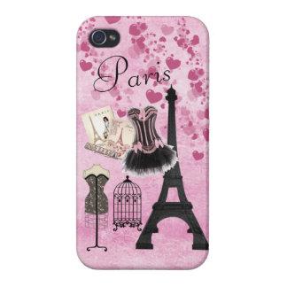Moda rosada femenina elegante de París iPhone 4 Funda