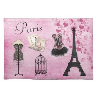 Moda rosada femenina elegante Placemat de París Manteles