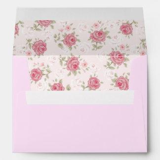 Moda rosado, lamentable, vintage, floral, sobre