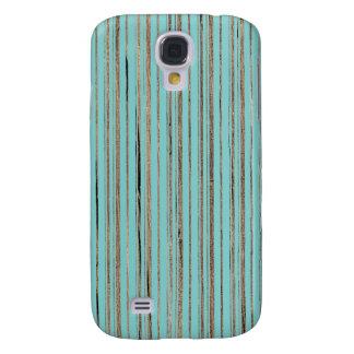 Moda rústica rayada de madera de las rayas de azul funda para galaxy s4