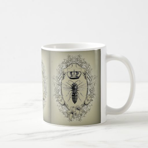 moda shabbychic de la corona de la reina de la abe taza de café