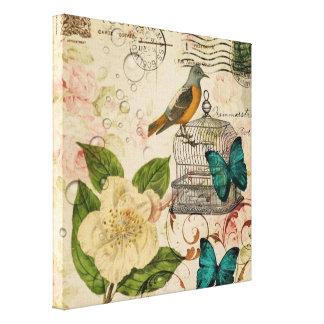 moda subió pájaro botánico francés femenino de Par Impresiones En Lona