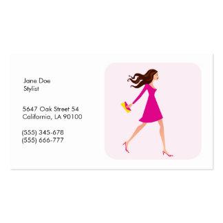 Moda, tarjeta de visita del estilista con el ejemp