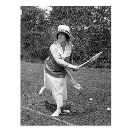 Moda temprana del tenis de los 1900s tarjetas postales