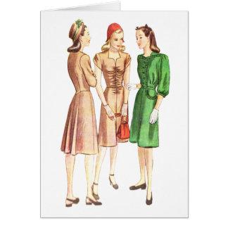 Moda V2 de los años 40 del vintage Tarjeta Pequeña